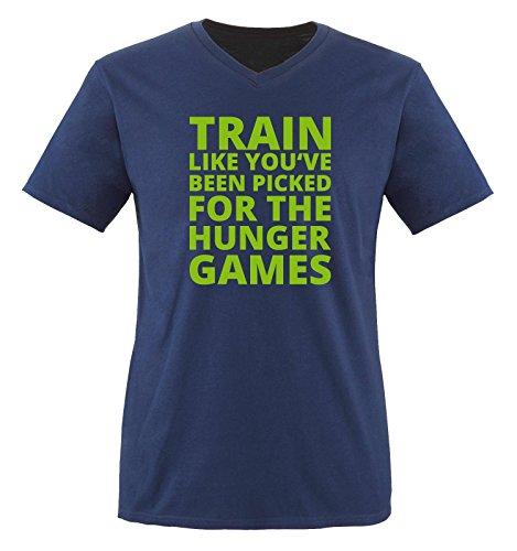 Comedy Shirts - Train like you've been picked for the HUNGER GAMES - Herren V-Neck T-Shirt - Navy / Grün Gr. XXL