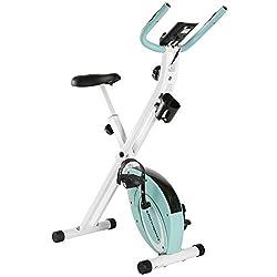 Ultrasport F-Bike Advanced Heimtrainer, Faltbares Fitnessbike mit Gelsattel, Flaschenhalter und Trinkflasche, Mint, OS
