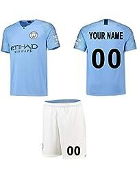 WFhome Camisetas de fútbol Personalizadas del Manchester City F.C. casa de Campo fútbol Personalizadas con Nombres