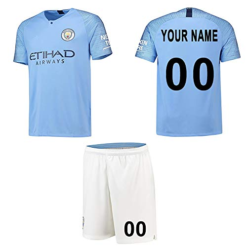 WFhome Camisetas de fútbol Personalizadas del Manchester City F.C. casa de Campo fútbol Personalizadas con Nombres y números de los Jugadores