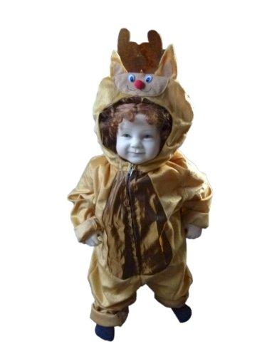 Rentier Kostüm Baby - Rentier-Kostüm, An62 Gr. 74-80, Hirsch-Kostüm Elch-Kostüm für Klein-Kinder, Hirsch-Kostüme Babies, Kinder-Kostüme Fasching Karneval, Kinder-Karnevalskostüme, Faschingskostüme, Geburtstags-Geschenk