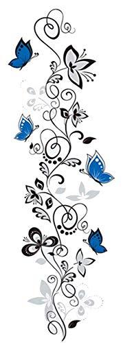 Wandtattoo Blumenranke mit Schmetterling Ranke Flur Wohnzimmer Ornament Schlafzimmer Wandaufkleber Wandsticker Pflanzen Frühling Sommer