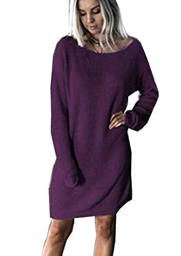 Yidarton Damen Pullover Kleider Winterkleider Lose Langarm Kleid Sweatkleid Minikleid Langarmshirt Pulli Sweatshirt(Lila,Medium) (Pullover Lila Kleid)