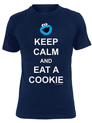 Sesame Street Keep Calm And Eat A Cookie Maglia donna blu XL