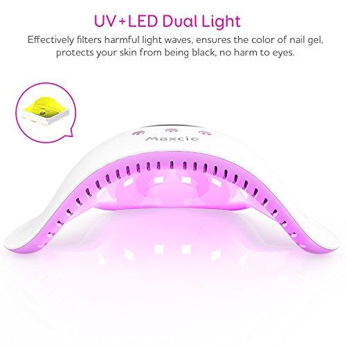 Lámpara LED Uñas,  Maxcio Secador de Uñas con Temporizador Profesional de 30s,  60s y 90s,  Pantalla LCD Sensor Automático de infrarrojos (24W)
