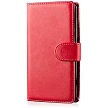 32nd® Funda Flip Carcasa de Piel Tipo Billetera para LG G4C (G4 Mini / H525N) con Tapa y Cierre Magnético y Tarjetero - Rojo