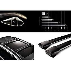 HippoBar Verrouillable & Aérodynamique Barres De Toit Barres Transversales pour Jeep Renegade 2015 Present Anodisé Noir