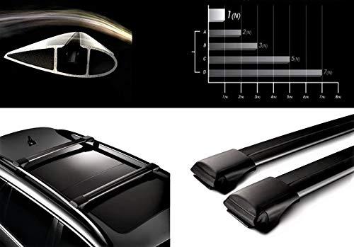HippoBar Aerodynamische & Abschließbare Alu Dachträger Für Daewoo Matiz 1998 Present Schwarz Eloxiert