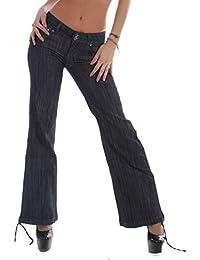 Damen Bootcut Jeans Schlagjeans Schlaghose Hüftjeans in Dunkelblau XS 34 S 36 M 38 L 40 XL 42 XXL 44