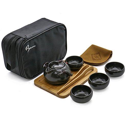 Buorsa 8-teiliges Reise-Teeset aus Porzellan im chinesischen/japanischen Stil, handgefertigt, Kung-Fu-Teeset mit Reisetasche (4 Tassen) schwarz (Chinesische Gongfu Tee-set)