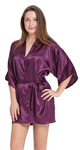 Aibrou peignoir long satin pyjama femme sexy ensemble chemise de nuit peignoir nuisette kimono japonais déshabillé vetement cadeau pour la fête mariage violet foncé