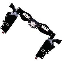 Ceinture Noire Porte Revolver de Cow Boy Double Hoster
