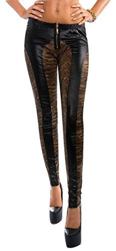 Extravagante Wetlook Leggings mit Reißverschluss (L/XL, tiger)