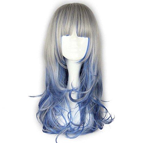 etruke longue Lolita ondulés gris bouclés Bleu Cosplay Perruque