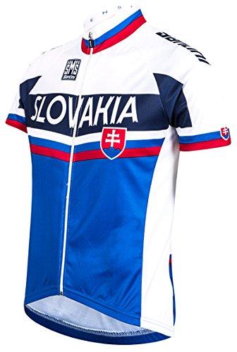 Santini slowakische National Teams Replica Jersey Short Sleeve Weiß Weiß/Blau XX-Large (Replica Team Jersey)