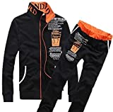 cfzsyyw Mens New Long Sleeve Zipper Sportwear Sport Gym Athletic Tracksuit Set Black S