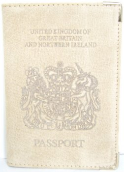 UK Echt Leder Passport Halter Wildleder beige (Leder Echt-passport-halter)