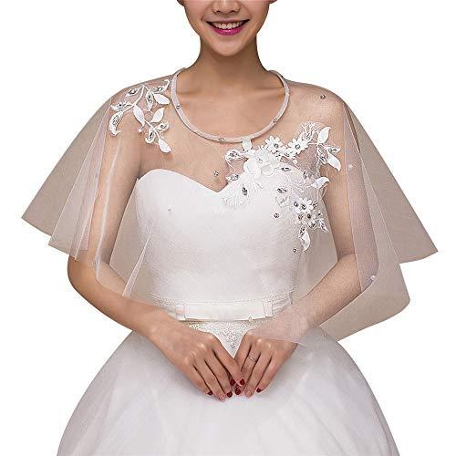 Bridal Lace Jacke (Braut Spitze Schal Achselzucken Damen Hochzeit Jacken Lace Bridal bestickten Schal mit Strass (Color : White, Size : Free Size))