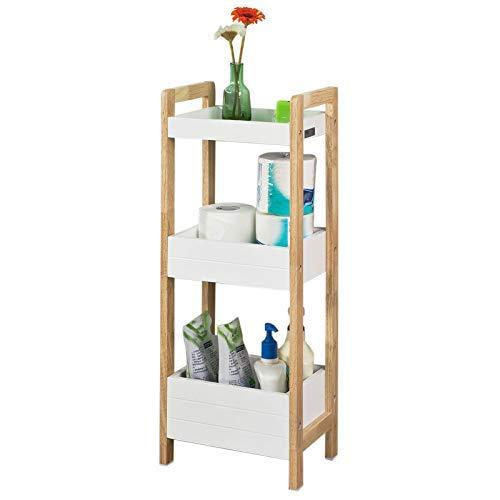 SoBuy® FRG226-WN Badregal in weiß/Bambus, Standregal Küchenregal mit 3 Ablagefächern BHT ca: 28x74x20cm