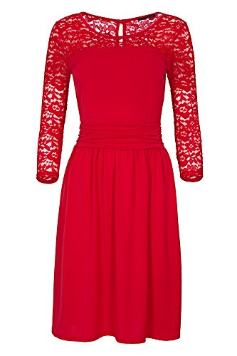 Laeticia Dreams Damen Kleid mit Spitze Knielang Langarm S M L XL Rot