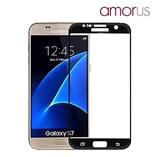 Amorus Samsung Galaxy S7 G930 Echt Schutz Glas Full Coverage 9H Curved LCD Screen Protector Displayschutz Tempered Glass Schwarz