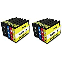 TIAN - 8 kompatible Tintenpatronen 932XL 933XL für HP Officejet Pro 6100 6600 6700 Premium 7100 WideFormat 7610 WideFormat (2x schwarz, 2x Cyan, 2x Magenta, 2x Gelb) Drucker,etc.