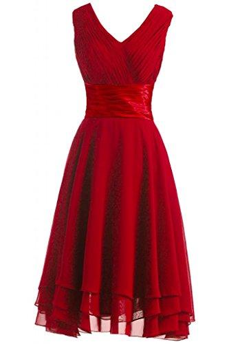 Victory Bridal Robe de soirée/demoiselle d'honneur à plis - Décolleté V simple - Longueur genou - En mousseline Rouge - Rouge