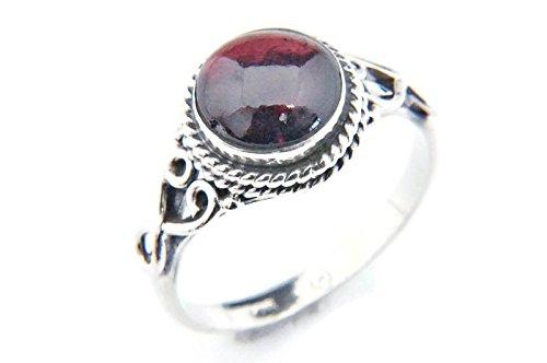 Ring Silber 925 Sterlingsilber Granat rot Stein (MRI 24), Ringgröße:58 mm/Ø 18.5 mm (Antik Trachten Schmuck Ringe)