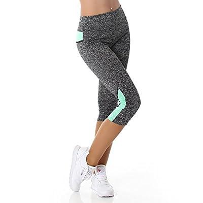 Damen Fitness Leggings Sportbekleidung Sportleggings Fitnesshose Sporthose grau dehnbar Yoga Workout elastischer Bund sowie Muster farblich abgesetzt