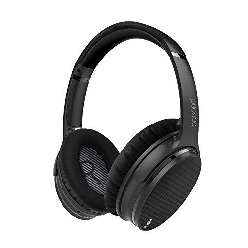Barsone Active Noise cancellazione cuffie, Hi-Fi Bluetooth Super Bass cuffie senza fili sopra l'orecchio, Bluetooth cancellazione del rumore auricolari, USB cuffia vivavoce ricaricabile con mic (Nero)