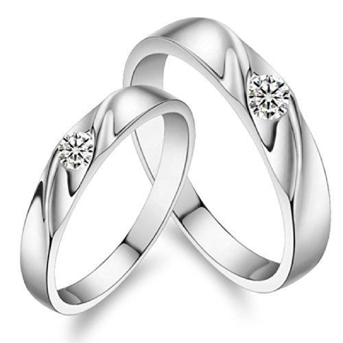 Merdia Anello di fidanzamento in argento Sterling 925, con brillante, fede nuziale a fascia con (Fede Regalo)