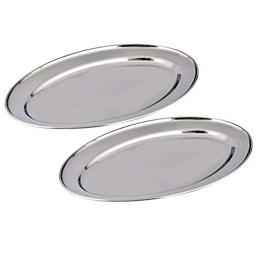 Ovale Platten (Gluecksshop Satz mit Edelstahl, Partyplatten, Serviertablett ovales Serviertablett - in unterschiedlichen Größen| Hochglanzpoliert ovale Platten (50 cm Oval 2 STK.))