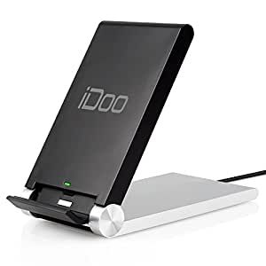 iDOO 3-coils Folding Qi Wireless Charger Dock (Silver/black) for Samsung Galaxy Note 5/4, S5,s6,s6 Edge/+,Nexus 4 / 5 / 6 / 7, Nokia Lumia 920 ,HTC 8x and Other Qi-enabled Phones and Tablets