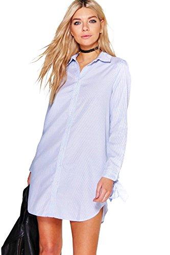 Bleu Femmes Whitney Robe Chemise Rayée Nouée Aux Manches Bleu