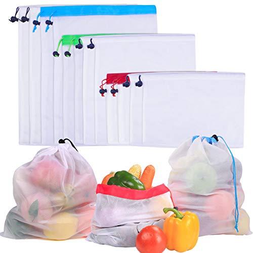 SelfTek Wiederverwendbare Mesh-Taschen 2 Arten Waschbar Aufbewahrungsbeutel 3 Verschiedene Größen Eco-Friendly Net Taschen für Lebensmittel Einkaufen (12 Stück)