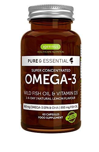 Pure & Essential Aceite de Pescado Salvaje Omega-3 410 mg EPA y 250 mg DHA por cápsula y...