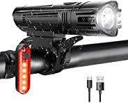 WOTEK Luces para Bicicleta LED Impermeable, Luces Bicicleta Delantera y Trasera Recargable USB, 4 Modos de Llu