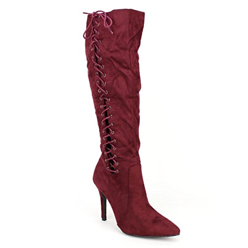 Cendriyon, Bottes Bordeaux à lacets WEIDE Chaussures Femme Bordeaux