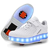 Ufatansy LED Shoes USB Charging Flashing Roller Sneakers Light Up Skates Shoes Sneakers with Wheels Kids Girls Boys (6 M US =CN39, Double Wheels, White)
