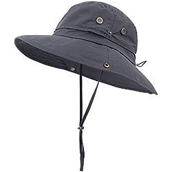 Anyoo Aire Libre Sombrero Bonnie Transpirable con Amplias Ala de Sombrero Verano Gorra UV Protección Pesca Camuflaje Sombrero para Hombre y Mujer, A Prueba de Agua para Excursionismo Campamento Aventuras al Aire Libre (pure/grey)
