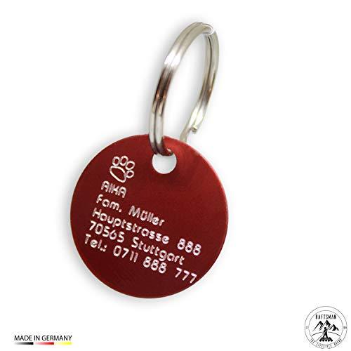 Hundemarke mit Gravur - ID Tag - Adressanhänger - Adressschild - Individuelle - Personalisiert - Diamantgravur (Rot-Matt)