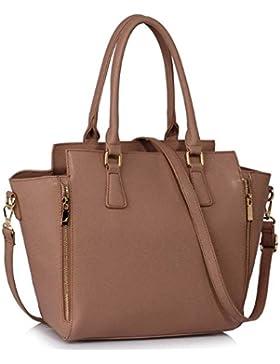 LeahWard® Damen Reißverschluss Handtaschen nett Groß Tote Schultertaschen 314 314A 502