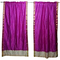 Mogul Interior 2 Indian Sari Curtain Pink Window Treatment Wedding Home Decor Curtains