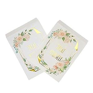 Neviti 775196 Geo - Bolsas para dulces (25 unidades, 23 x 13 x 0,2 cm), diseño floral, color rosa y dorado
