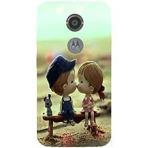 Casotec Love Couples Pattern Design 3D Hard Back Case Cover for Motorola Moto X 2nd Generation