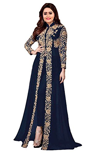 RTHub Women\'s Siffon Embroidered Semi Stitched Anarkali Salwar Suit (Navy-Blue_Free-Size_ Asirvad_Navy-Blue)