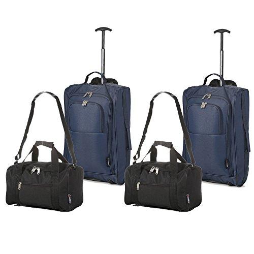 Set di 4 – (2) Trolley/Bagaglio a mano 55x40x20 e (2) Borsa da secondo bagaglio a mano in cabina 35x20x20