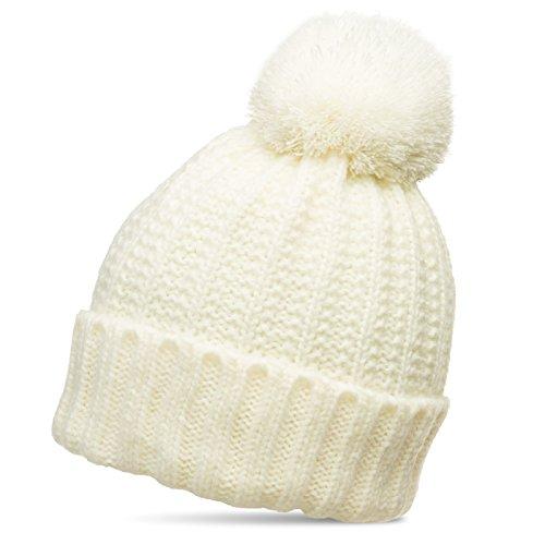 Caspar MU087 klassische Damen Winter Bommelmütze, Größe:One Size, Farbe:weiss (off-white) -