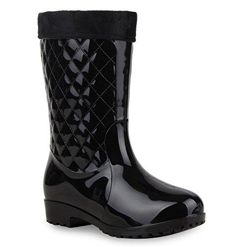 Gesteppte Damen Schuhe Stiefel Gummistiefel Profilsohle Boots 58717 Schwarz Gesteppt 39 Flandell -