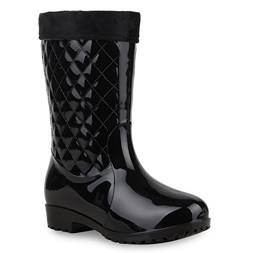 Gesteppte Damen Schuhe Stiefel Gummistiefel Profilsohle Boots 58717 Schwarz Gesteppt 39 Flandell (Schuhe Gesteppte)